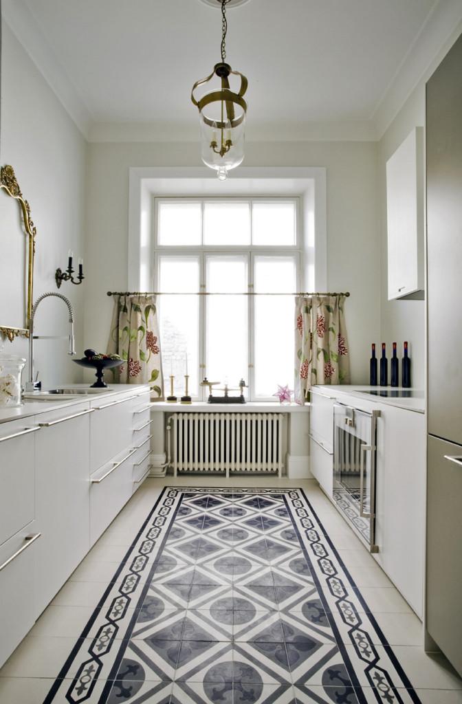 k che mit zementfliesen designer vintage waschbecken. Black Bedroom Furniture Sets. Home Design Ideas
